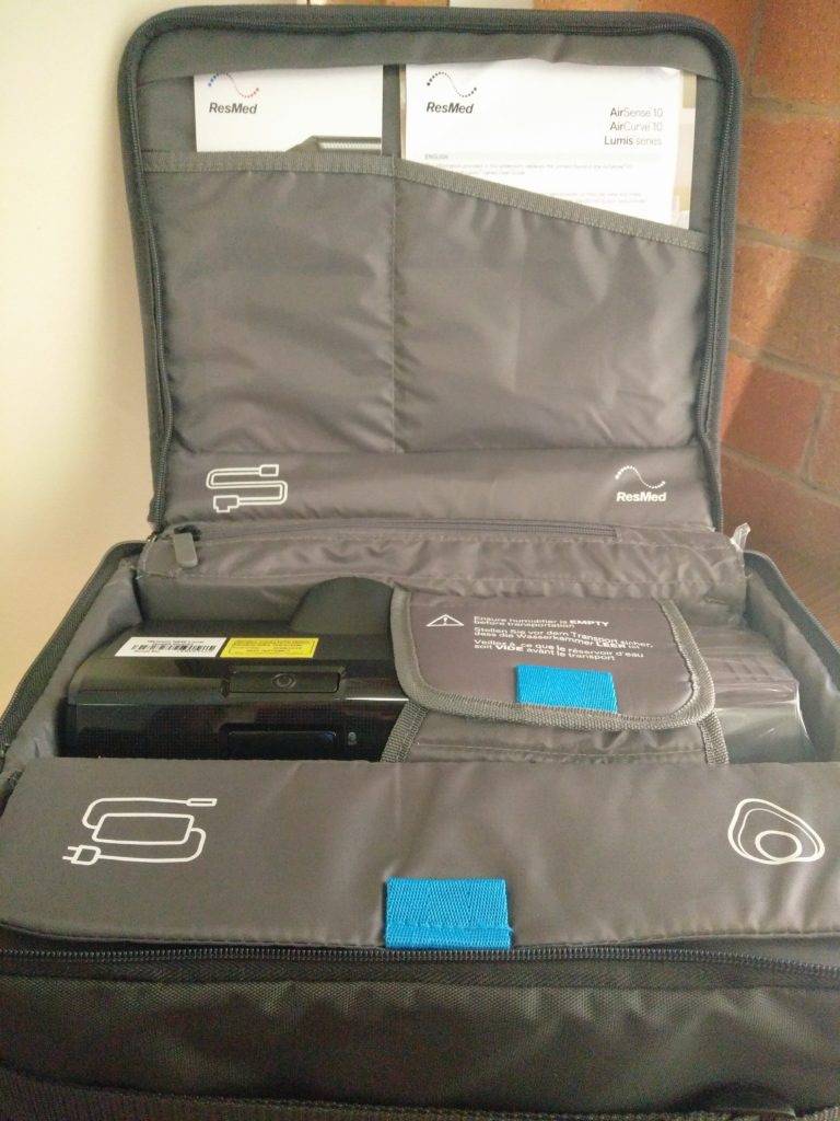 Inside the ResMed AirSense 10 Carry Bag